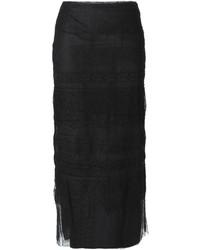 Jupe mi-longue en dentelle noire Valentino