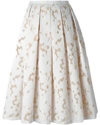 Jupe mi-longue en dentelle plissée blanche Michael Kors