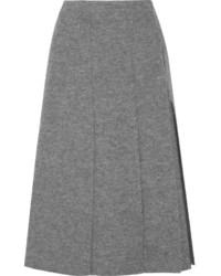 Jupe mi-longue en laine grise