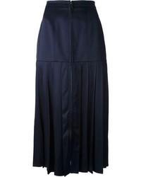 Jupe mi-longue en soie plissée bleue marine Fendi