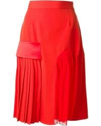 Jupe mi-longue en soie plissée rouge Givenchy