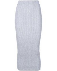 Jupe mi-longue en tricot grise Kenzo