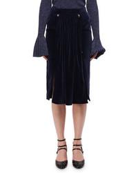 Jupe mi-longue en velours bleu marine