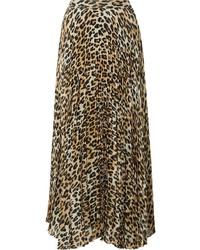 Jupe mi-longue imprimée léopard marron clair