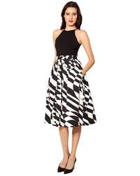 Jupe mi-longue imprimée noire et blanche