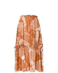 Jupe mi-longue imprimée orange