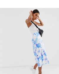 Jupe mi-longue imprimée tie-dye bleu clair