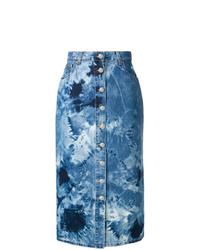 Jupe mi-longue imprimée tie-dye bleue