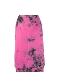 Jupe mi-longue imprimée tie-dye fuchsia