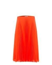 Jupe mi-longue orange