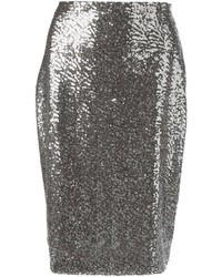 Jupe mi-longue pailletée argentée Philipp Plein