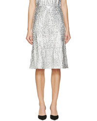 Jupe mi-longue pailletée plissée argentée Nina Ricci