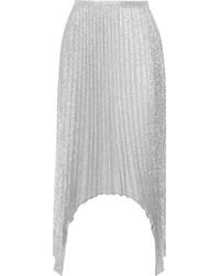 Jupe mi-longue plissée argentée Emilio Pucci