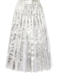 Jupe mi-longue plissée argentée Gucci