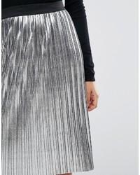feaf184fdc383e Jupe mi-longue plissée argentée Miss Selfridge, €39 | Asos ...