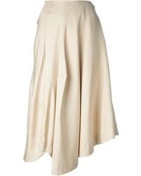 Jupe mi-longue plissée beige