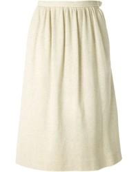 Jupe mi-longue plissée beige Saint Laurent