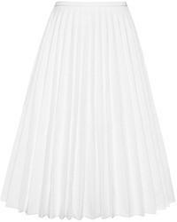 Jupe mi-longue plissée blanche