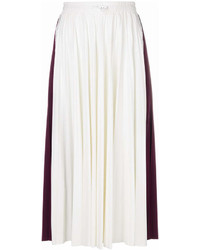 Jupe mi-longue plissée blanche Valentino
