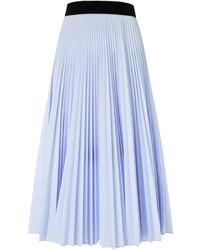 Jupe mi-longue plissée bleu clair