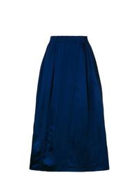 Jupe mi-longue plissée bleu marine Marni
