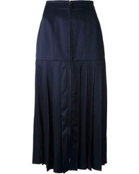Jupe mi-longue plissée bleue marine Fendi