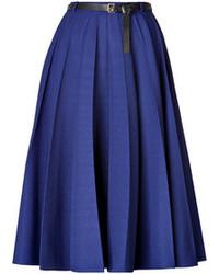 Jupe mi-longue plissée bleue
