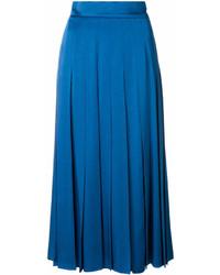 Jupe mi-longue plissée bleue Fendi