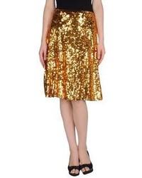 Jupe mi-longue plissée dorée