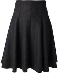 Jupe mi-longue plissée gris foncé Dolce & Gabbana