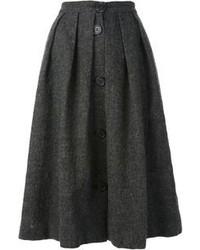 Jupe mi-longue plissée gris foncé Jean Paul Gaultier
