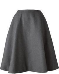 Jupe mi-longue plissée gris foncé Rochas