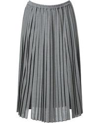 Jupe mi-longue plissée grise