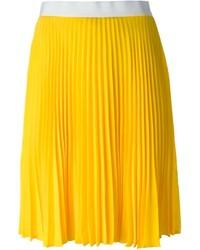 Jupe mi-longue plissée jaune