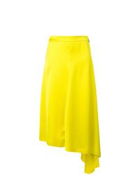 Jupe mi-longue plissée jaune MSGM