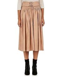 Jupe mi-longue plissée marron clair