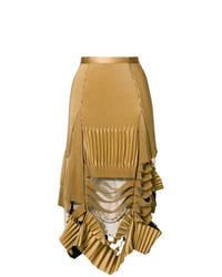 Jupe mi-longue plissée marron clair Maison Margiela