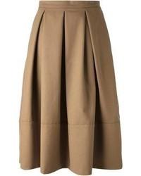 Jupe mi-longue plissée marron