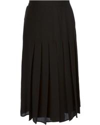 Jupe mi-longue plissée noire Givenchy