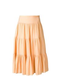Jupe mi-longue plissée orange Chloé