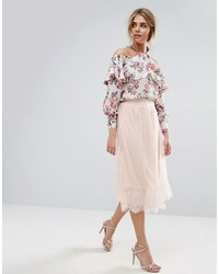 Jupe mi-longue plissée rose Boohoo