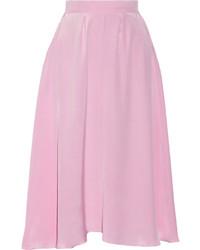 Jupe mi-longue plissée rose