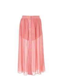 Jupe mi-longue plissée rose Lalo