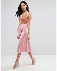 Jupe mi-longue plissée rose Liquorish