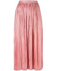 Jupe mi-longue plissée rose Tibi