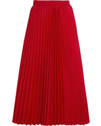 Jupe mi-longue plissée rouge Balenciaga