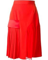 Jupe mi-longue plissée rouge Givenchy