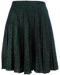 Jupe mi-longue plissée vert foncé