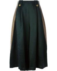 Jupe mi-longue plissée vert foncé Kolor