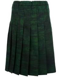 Jupe mi-longue plissée vert foncé Marni